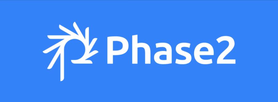 Phase2 Logo White On Blue